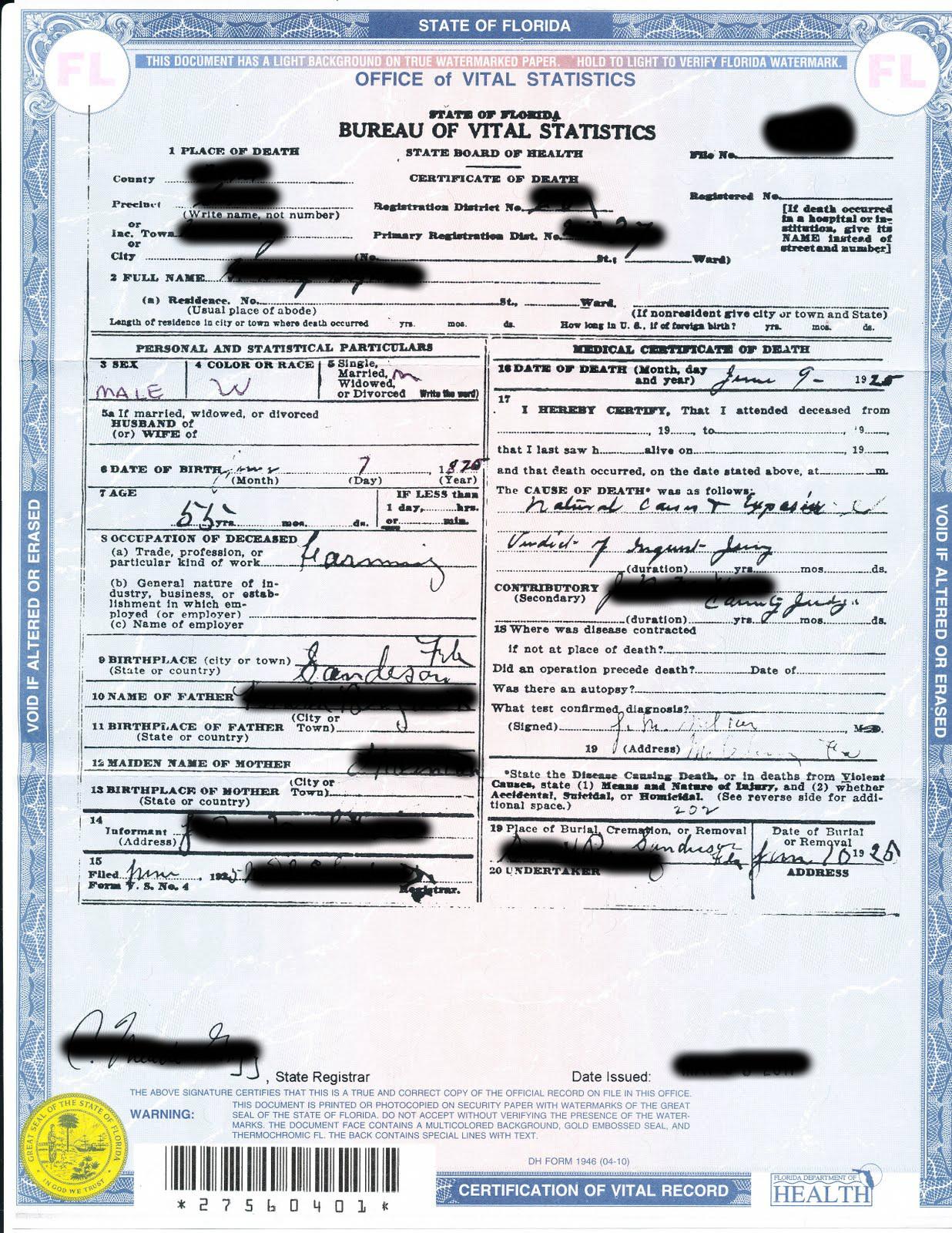 death certificate sample